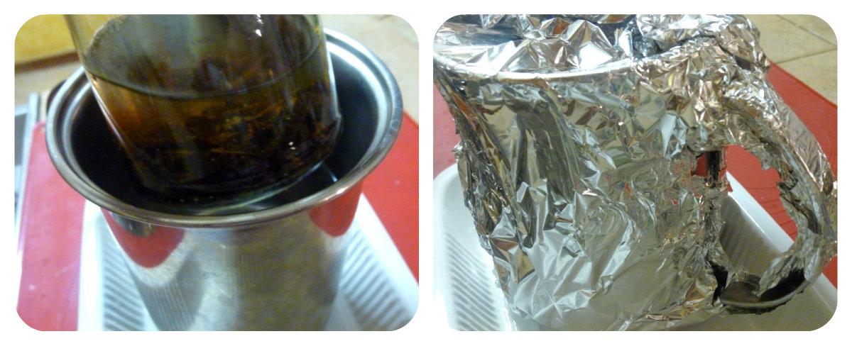 Per agevolare l'estrazione dell'aroma sistemate il barattolo in un contenitore stretto e alto e copritelo con acqua calda 65 gradi circa, coprite tutto con carta argentata e sistemate in un angolo caldo della casa
