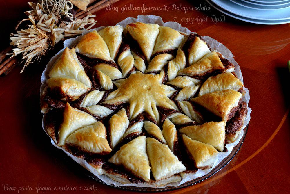 Torta pasta sfoglia e nutella a stella