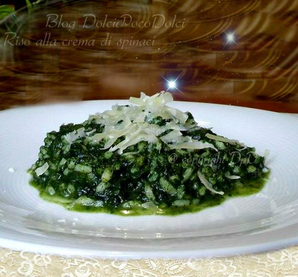 Riso crema di spinaci - ricetta facile e veloce - pranzo dell'ultimo momento - cena improvvisa - risotto bianco - riso spinaci parmigiano