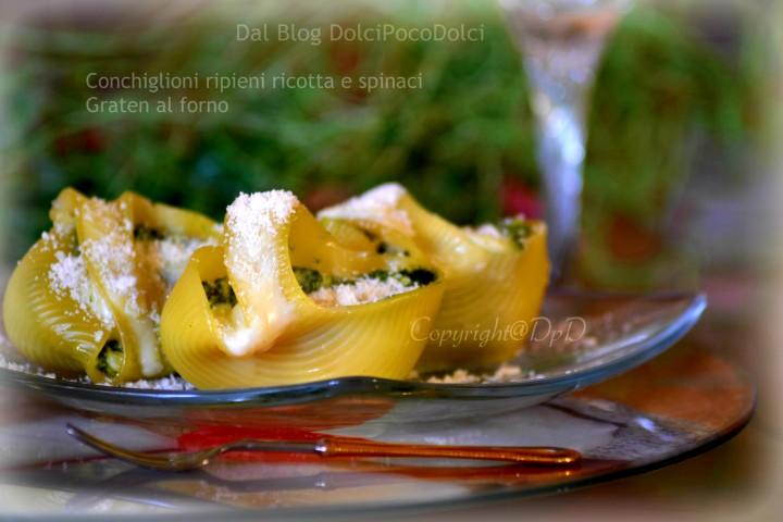 Conchiglioni ripieni ricotta e spinaci graten al forno 1+-