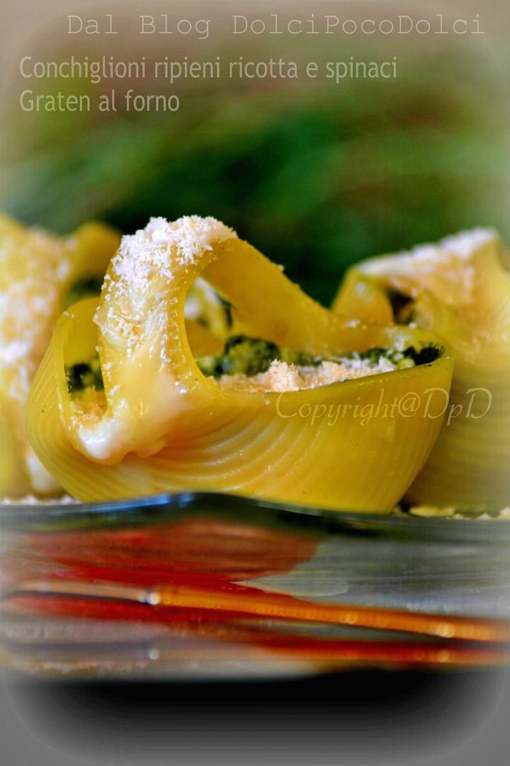 Conchiglioni ripieni ricotta e spinaci graten al forno 3+-+
