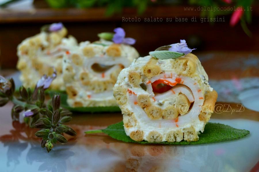 Rotolo salato su base di grissini stirati