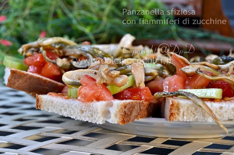 Panzanella sfiziosa con fiammiferi di zucchine 5