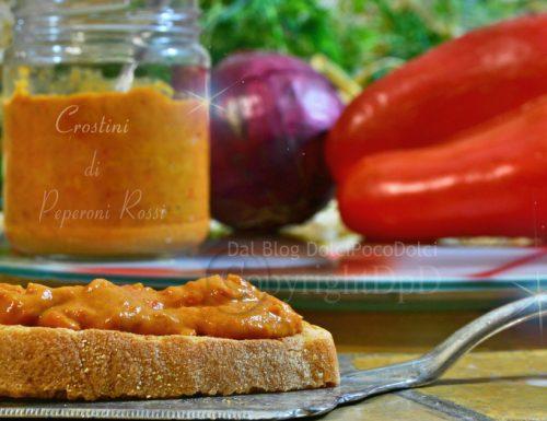 Crostini di peperoni rossi | Ricette Antipasti veloci