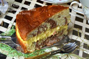 Torta variegata cacao e crema morbida senza burro