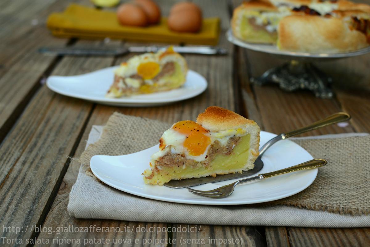 Torta salata ripiena patate uova e polpette