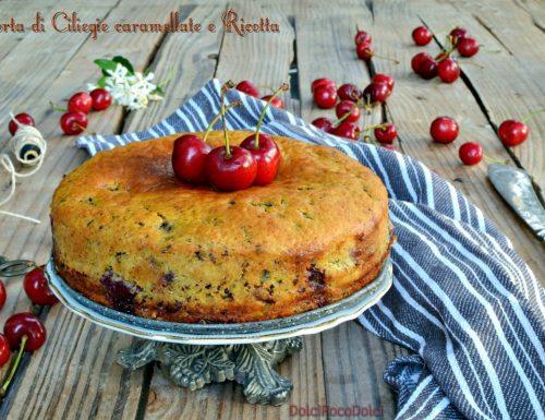 Torta di ciliegie caramellate e ricotta – Colazione morbida senza burro