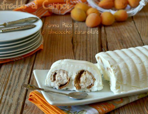 Semifreddo di cannoli con panna ricotta albicocche