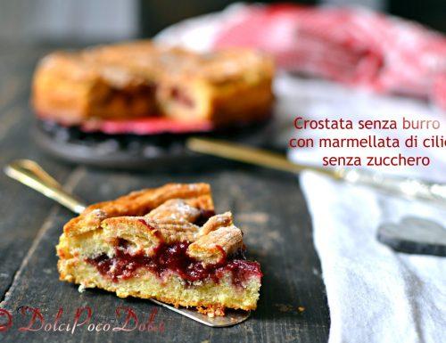 Crostata senza burro con marmellata di ciliegie senza zucchero