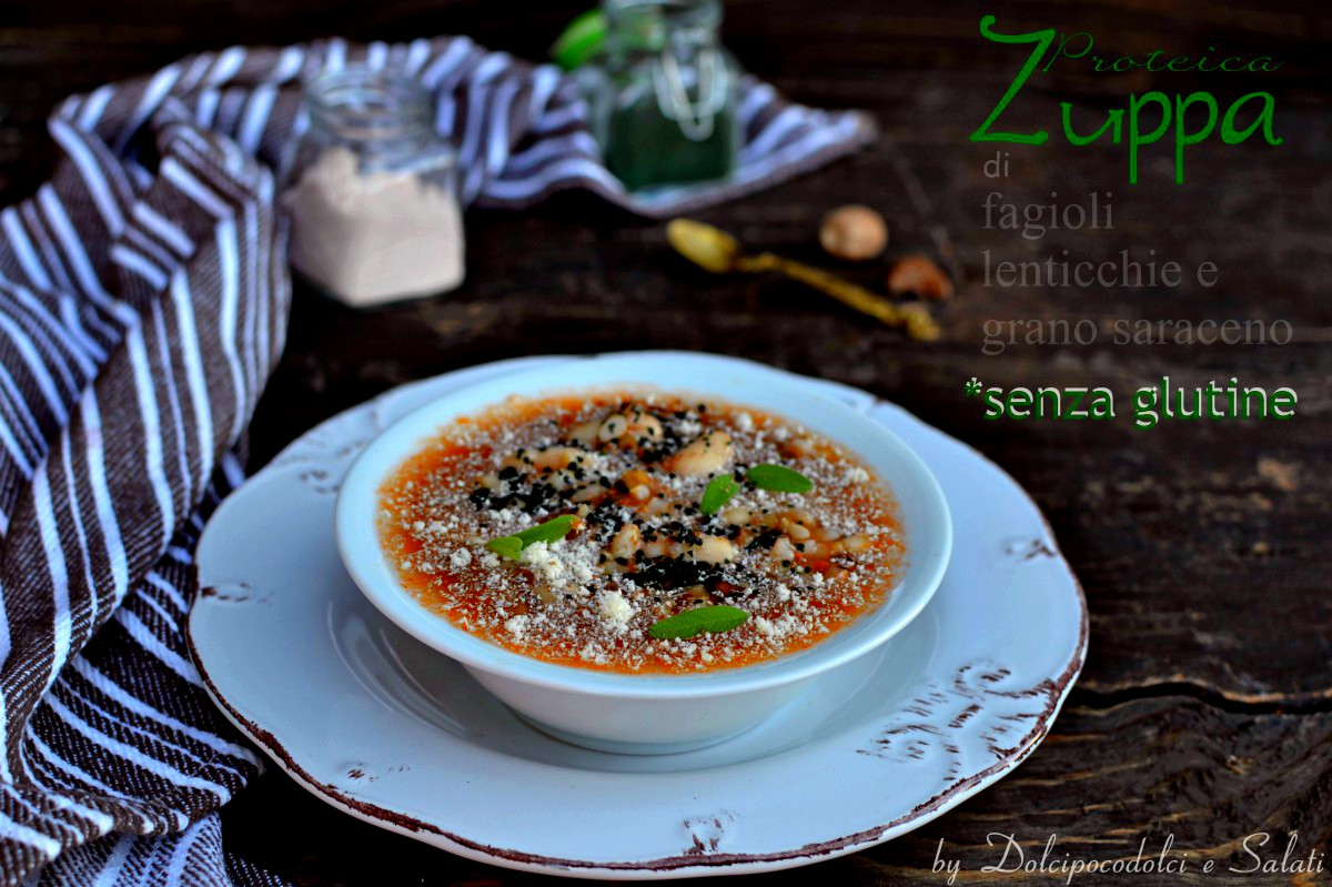 Zuppa di fagioli con lenticchie e grano saraceno