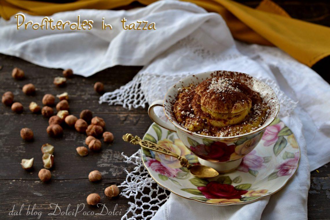 Profiteroles in tazza alla crema latte di nocciola