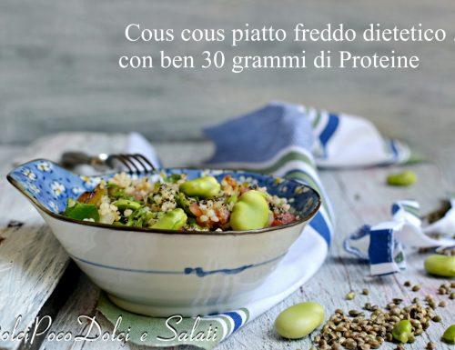 Cous cous proteico con fave tonno e semi di canapa