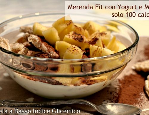 Merenda low carb con Yogurt e Mela dieta a basso indice glicemico