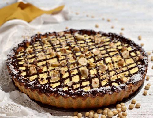 Crostata per diabetici con farina di soia e crema senza zucchero