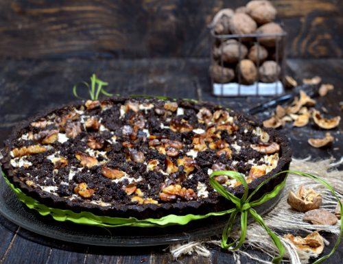 Crostata di noci ricotta e semi di lino senza glutine burro e zucchero