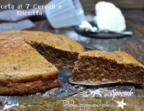 Torta con farina ai 7 cereali morbida con ricotta per colazione fit senza zucchero