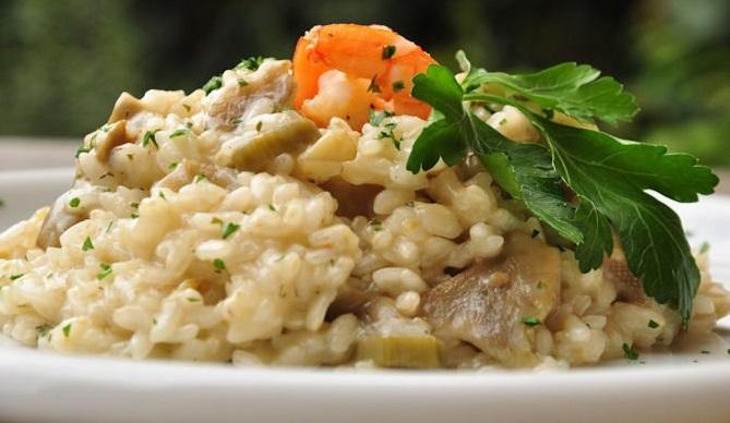 risotto con gamberi e carciofi