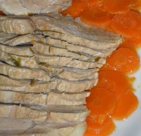 lonza con carote e salsa