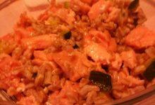 Farro perlato, zucchine bollite e salmone (al cartoccio) home-made