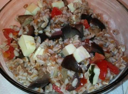 Insalata di farro, melanzane, pomodorini e provolone piccante home-made