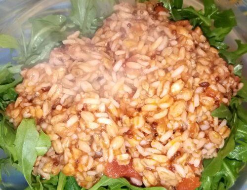 Riso, farro, quinoa e semi di lino con sugo al pomodoro e rucola