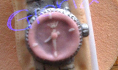 Rolex in pdz con quadrante rosa, topper torta completamente in pasta di zucchero