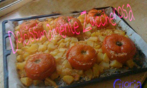 Pomodori con riso al forno con patate ricetta Romana
