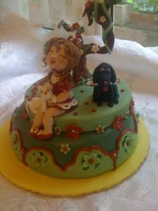 torta bimba gatti e cane in pasta di zucchero