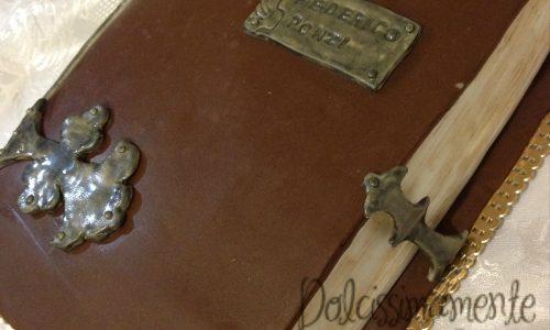 Torta libro antico in pasta di zucchero mini tutorial