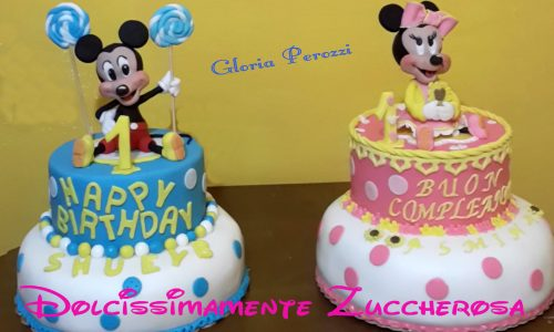 Doppia torta Topolino e Minnie in pasta di zucchero pdz