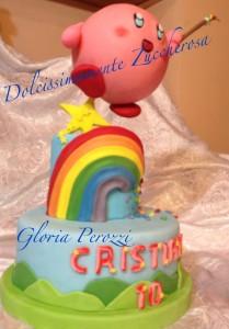 Torta Kirby arcobaleno in pasta di zucchero pdz