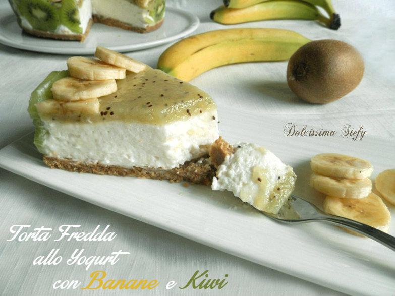 torta fredda con banane e kiwi