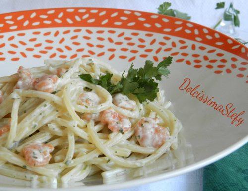 Spaghetti Philadelphia e Gamberetti