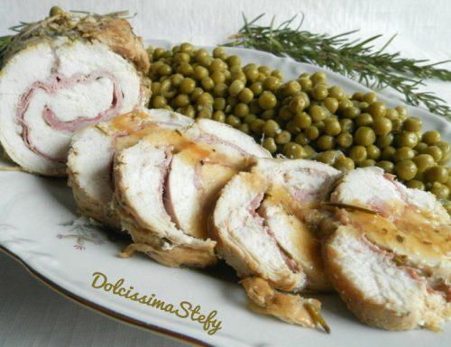 Arrosto di Pollo farcito e Piselli,ricetta di carne
