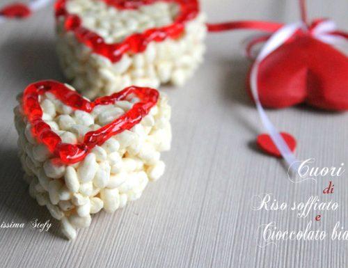 Cuori al Cioccolato Bianco e Riso soffiato,tipo Biancorì