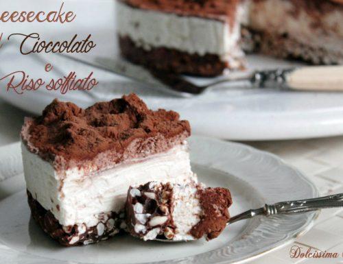 Cheesecake al Cioccolato e Riso Soffiato,senza cottura