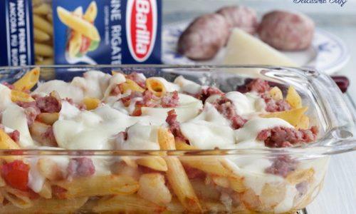 Pasta al forno con Salsiccia e Caciocavallo