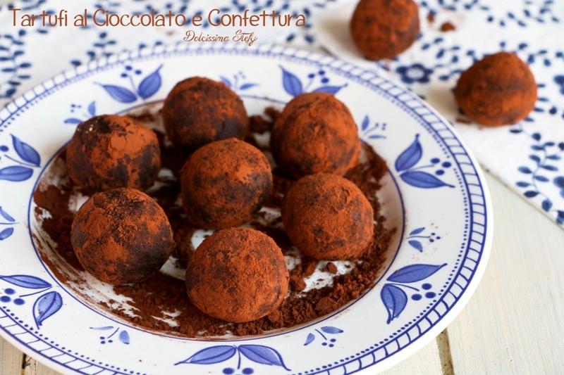 Tartufi con Confettura di Lamponi e Cioccolato