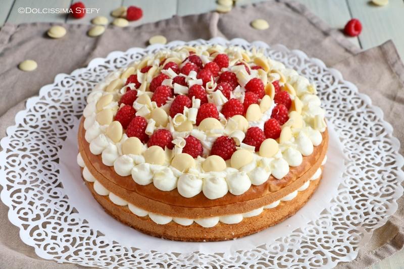 Torta Paradiso con Crema al Cioccolato bianco, Limone e Lamponi