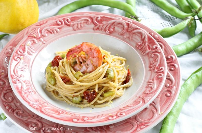 Spaghetti al Limone, Gamberi e Fave