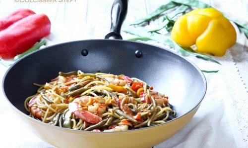 Spaghetti con Gamberi e Verdure