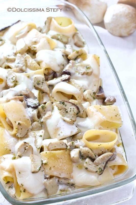 Pasta al forno con Funghi e Scamorza