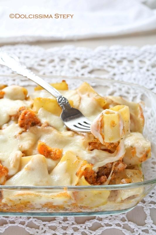 Pasta al forno con Zucca, Salsiccia e Scamorza