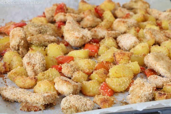 Bocconcini di Pollo, Peperoni e Patate