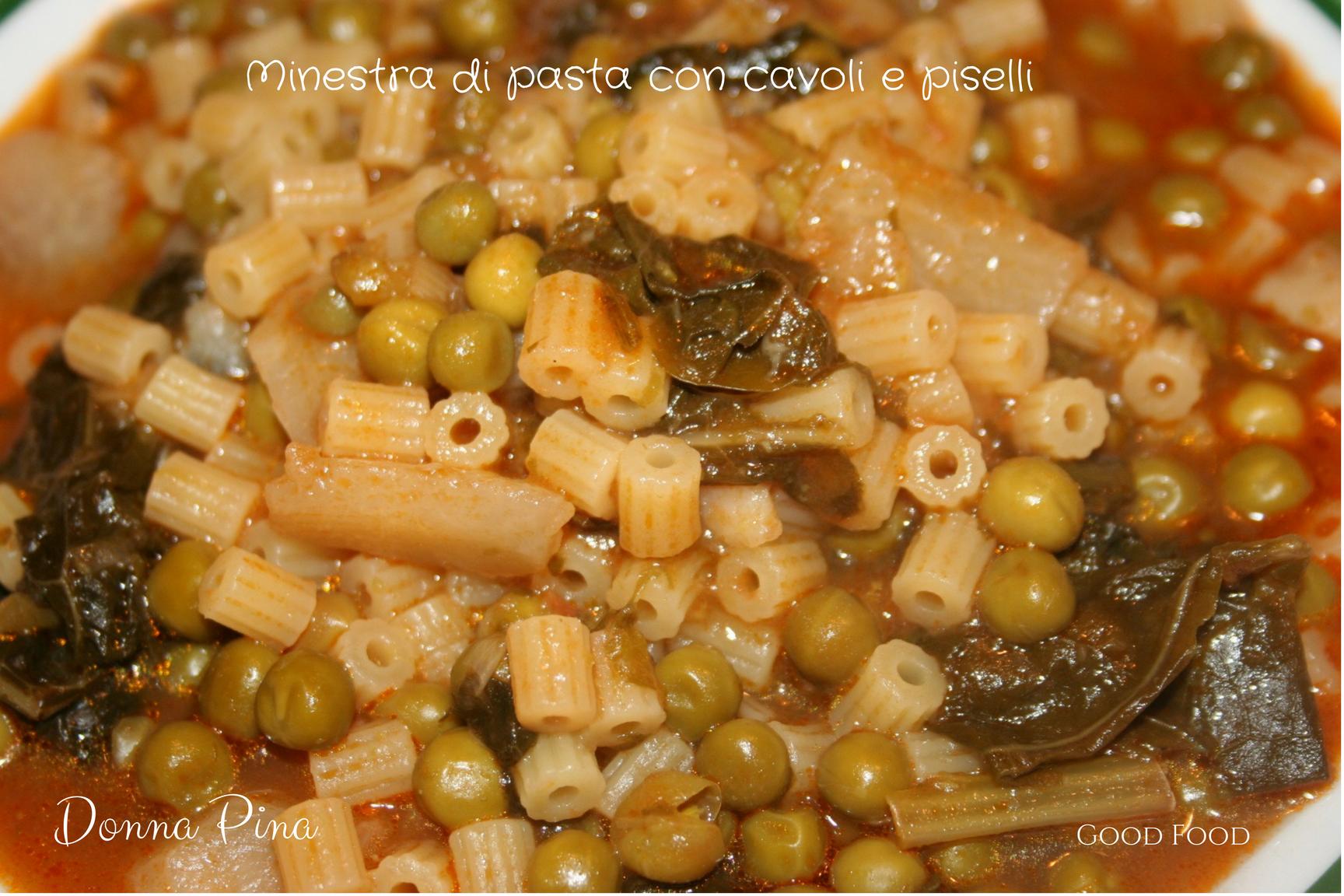 Minestra di pasta con cavoli e piselli - Ricetta siciliana