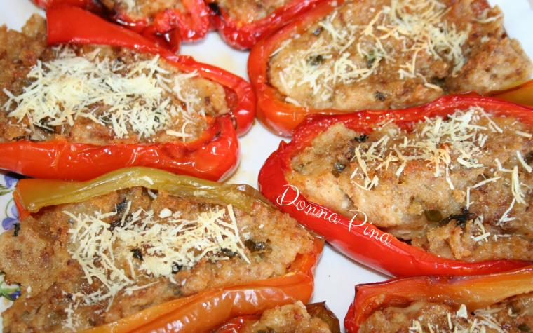 Peperoni aperti con ripieno alla siciliana