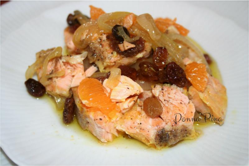 Salmone in agrodolce al succo di mandarini e curry