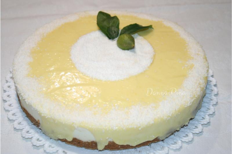 Cheesecake al Cocco e Limone con glassa di Lemon Curd