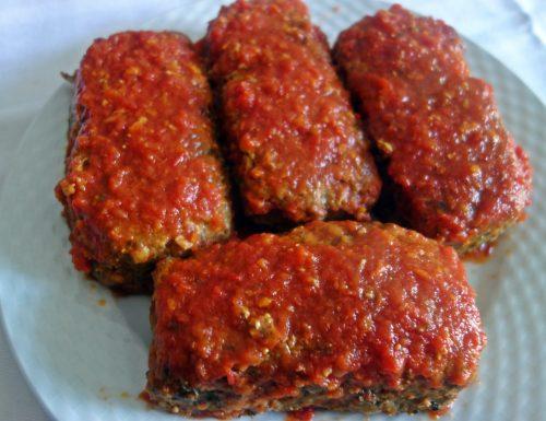 Mini polpettoni di carne e verdura, al sugo di pomodoro