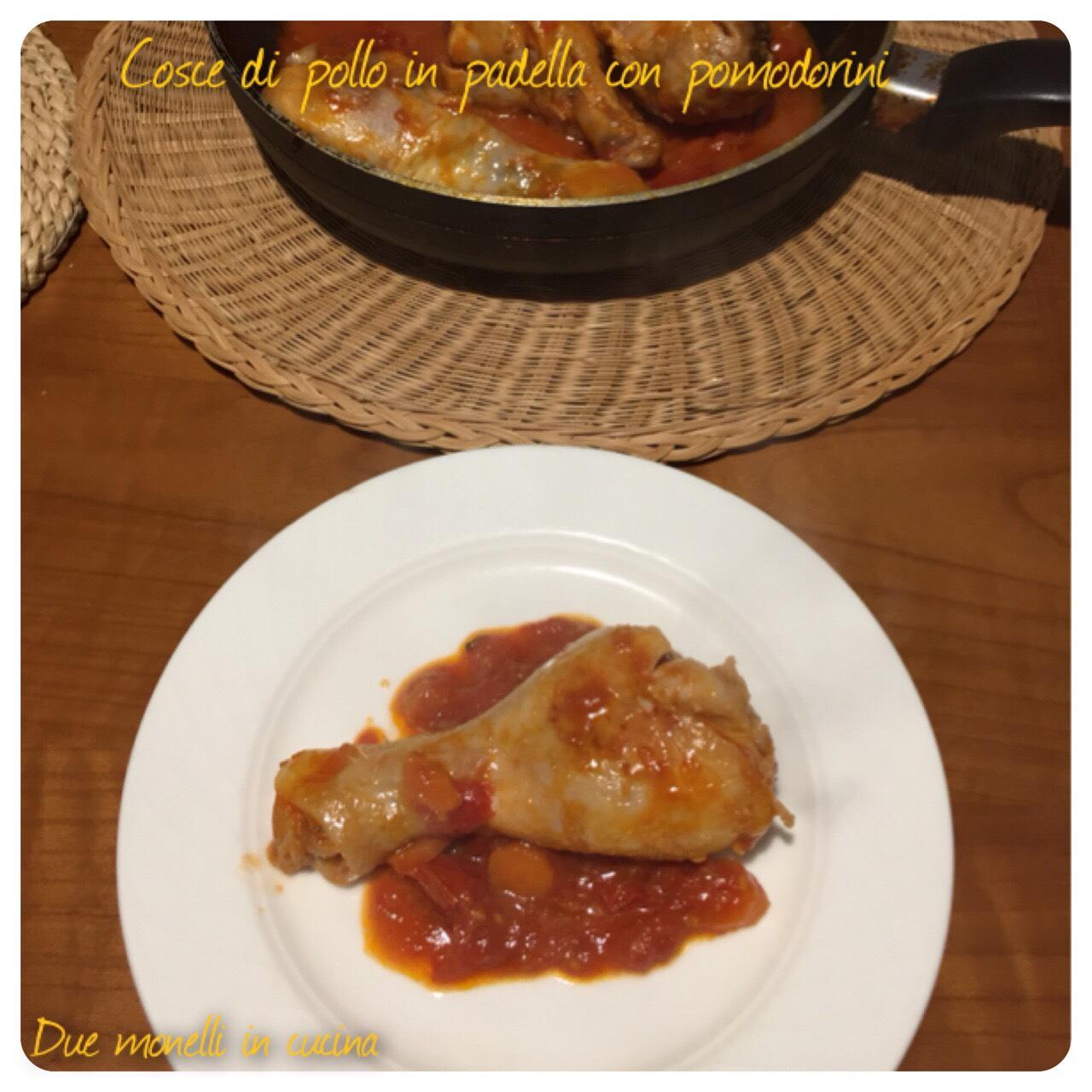 Cosce di pollo in padella con pomodorini